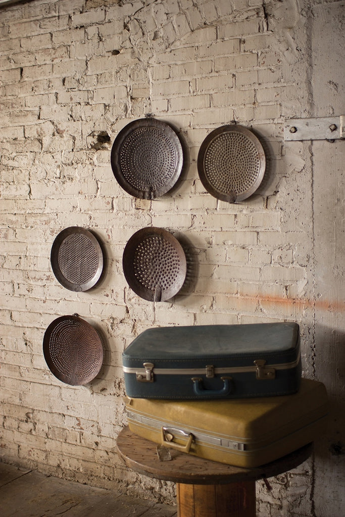 Assorted Iron Strainer Wall Hangings - Set of 5