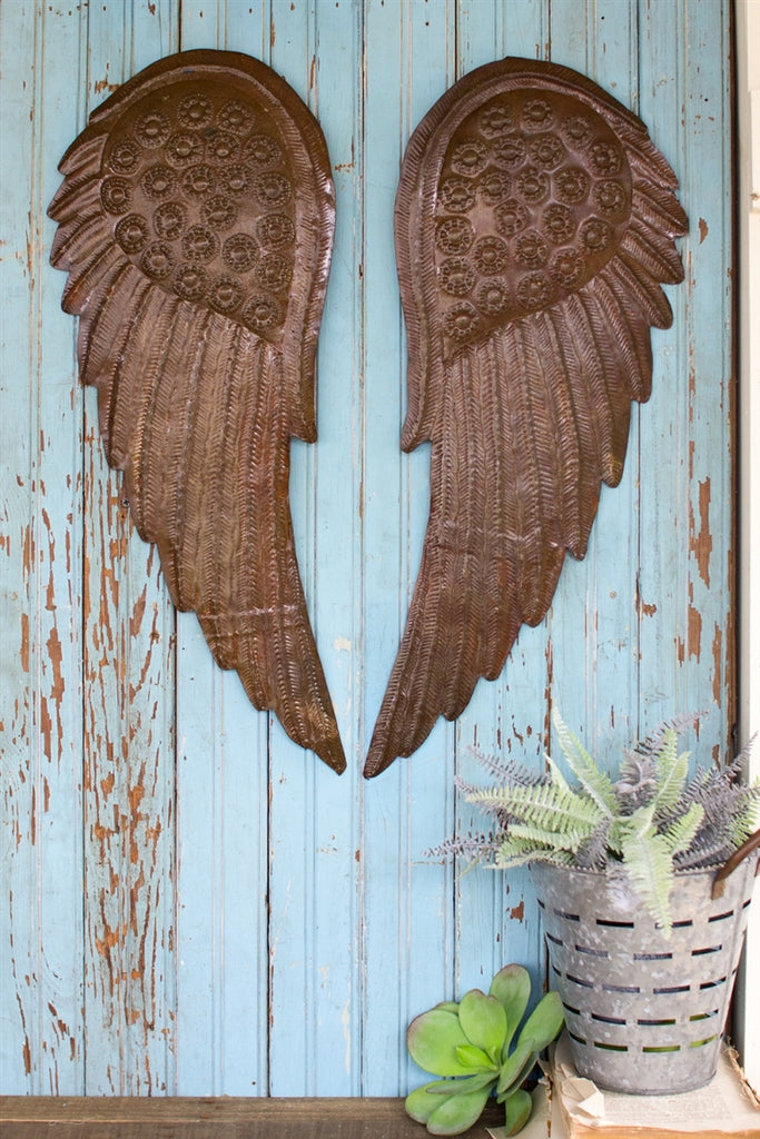 Metal Hand Hammered Angel Wings - Set of 2