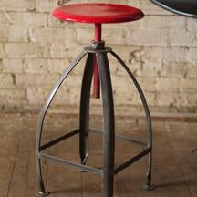 Metal Stool With Adjustable Red Top
