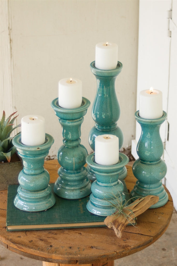 Turquoise Ceramic Candle Holders - Set of 5