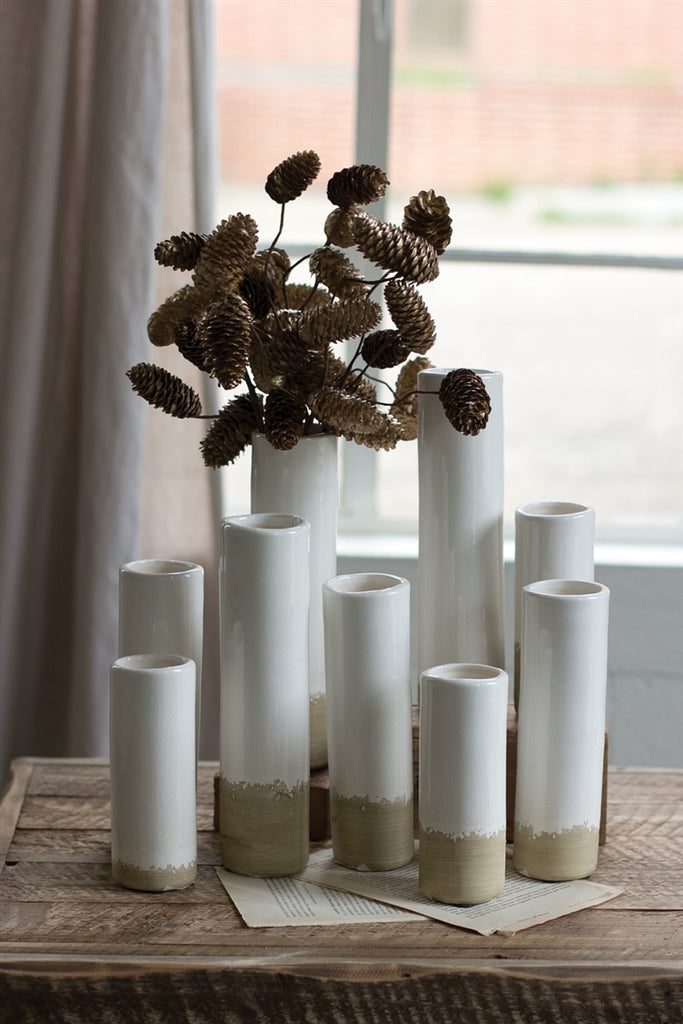 White Ceramic Cylinder Bud Vases - Set of 9