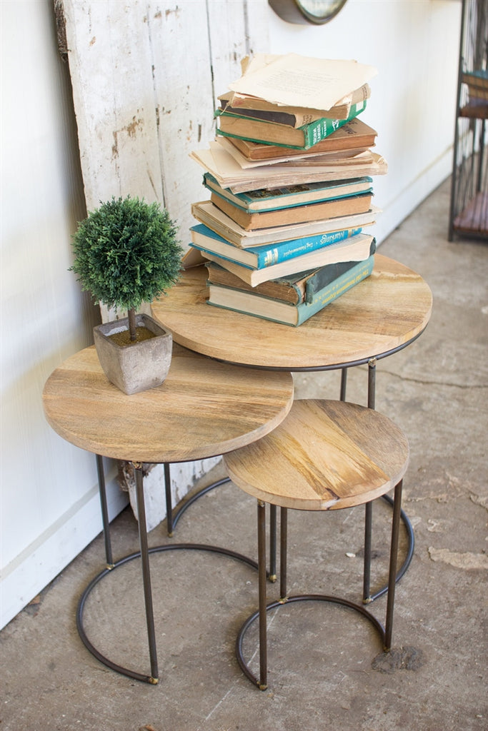 Nesting Iron Accent Tables With Mango Wood Tops - Set of 3