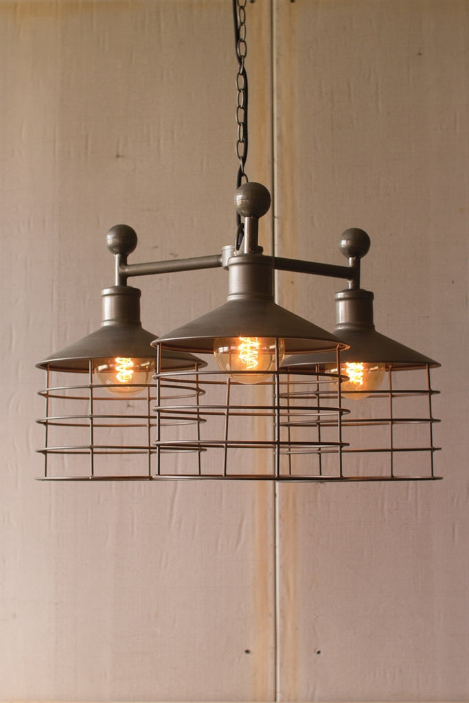 Metal Three Caged Pendant Light