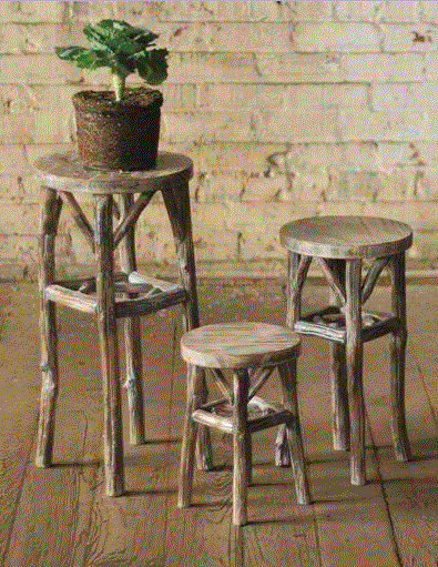 Round Whitewash Pedestals With Twig Legs - Set of 3
