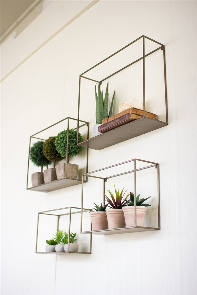 Square Metal Shelves - Set of 4