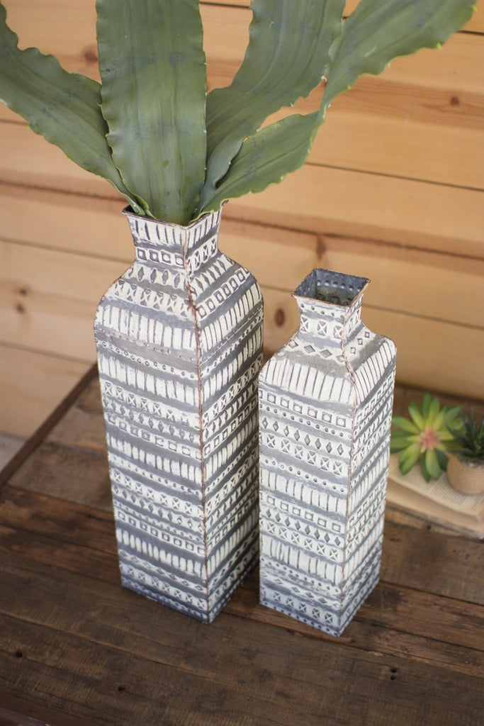 Pressed Metal Tall Flower Vases - Set of 2
