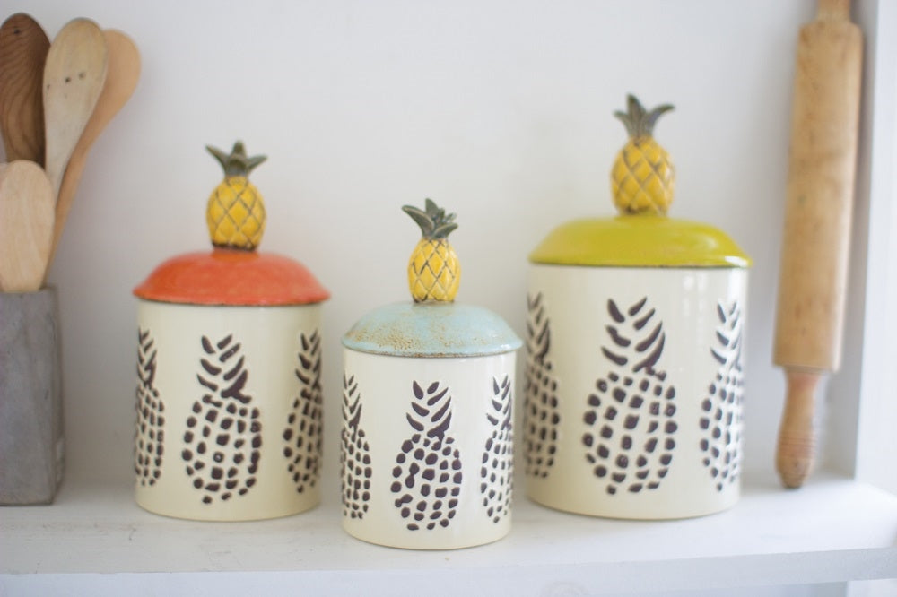 Ceramic Pineapple Canisters - Set of 3