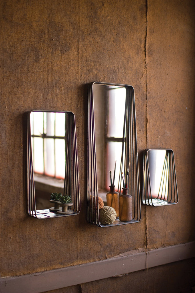Tall Metal Framed Mirrors With Shelves - Set of 3
