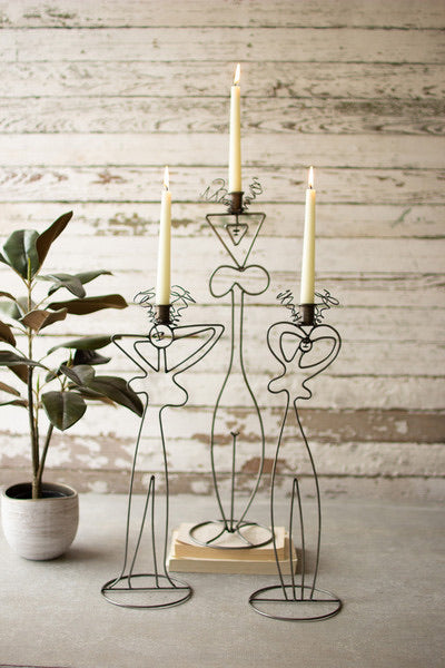Wire Abstract Ladies Taper Candle Towers - Set of 3