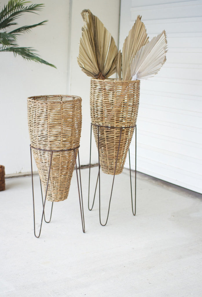 Seagrass Cone Planters with Iron Stands- Set of 2