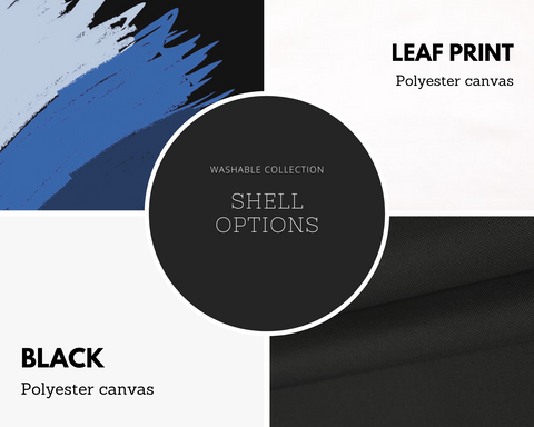 Color choices for washable bags, LeaF print or Black.