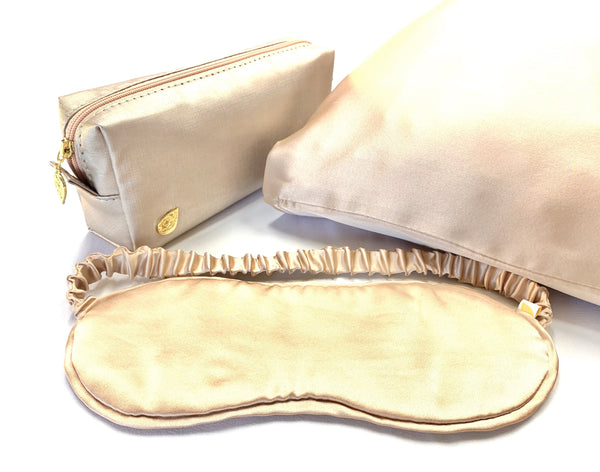 Silk pillow case and eye mask.