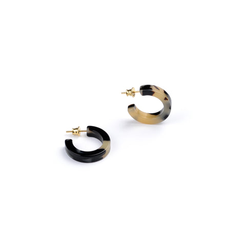 "Round n' Round Hoop Earrings - Handmade from Italian Acetate (""Tortoiseshell"") - Tokyo Light"