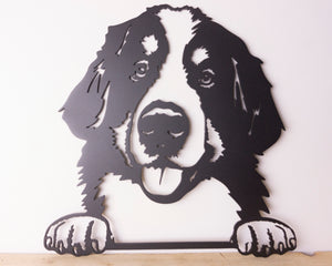 Bernese Mountain Dog Peeping Dog Wall Art / Garden Art - Unique Metalcraft