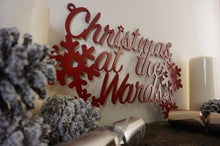 Load image into Gallery viewer, Christmas at the surname sign Home wall art Metal - Side View