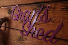 Load image into Gallery viewer, Grans Shed sign Home wall art Metal - Side View