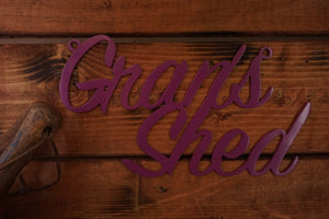 Grans Shed sign Home wall art Metal - Front View