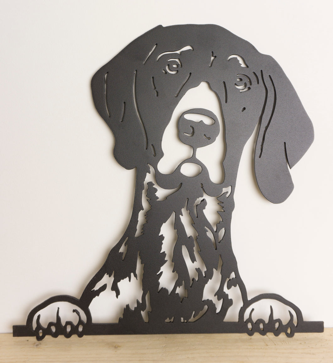 German Short Haired Pointer Peeping Dog Wall Art / Garden Art - Unique Metalcraft