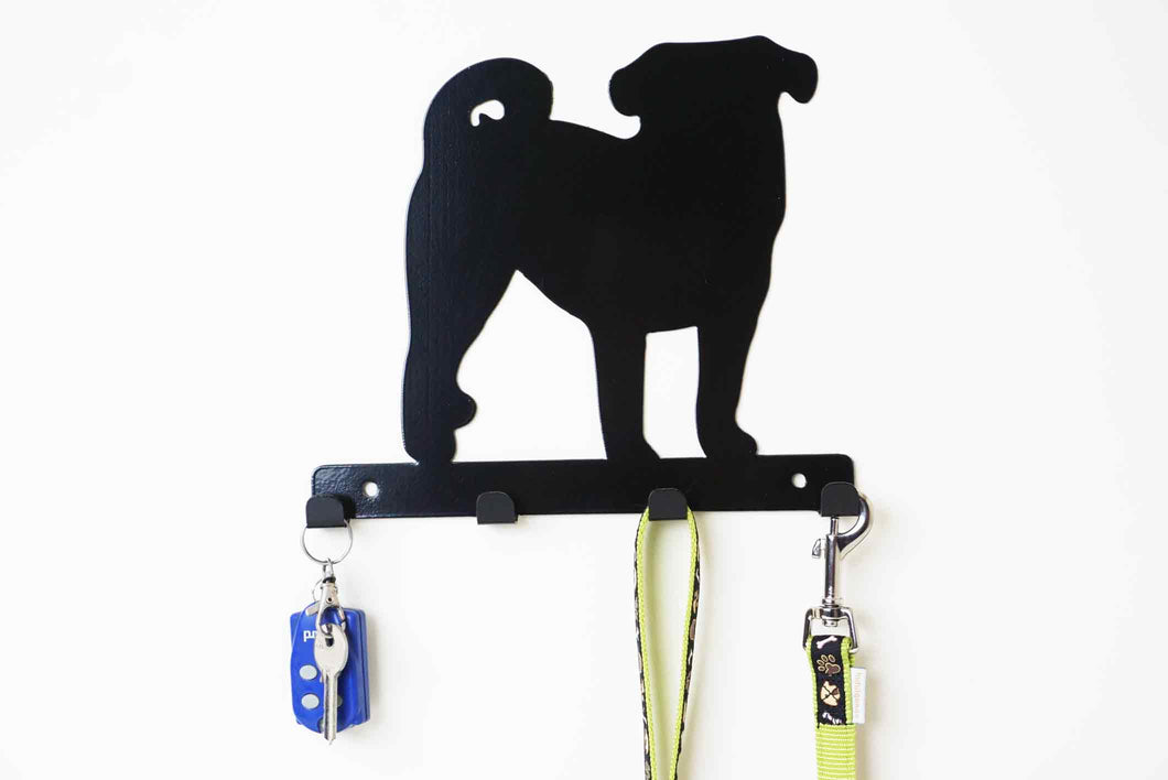 Pug - Dog Lead / Key Holder, Hanger, Hook - Unique Metalcraft