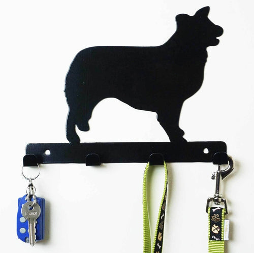 Border Collie - Dog Lead / Key Holder, Hanger, Hook - Unique Metalcraft