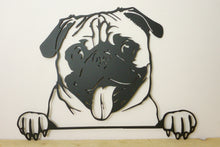Load image into Gallery viewer, Pug Peeping Dog Wall Art / Garden Art - Unique Metalcraft