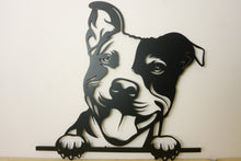 Load image into Gallery viewer, Staffordshire Bull Terrier Head Dog Wall Art / Garden Art - Unique Metalcraft
