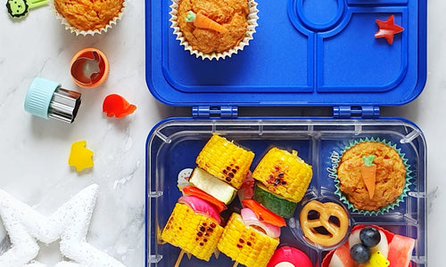 Carrot cupcakes with vitn on cob in skewers- Truck Lunchbox 4 compartments