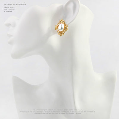 Shiny Gold Plated Pearl Clip on Stud Earrings