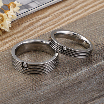 Personalized Polished Couple Titanium Rings with Cubic Zircon