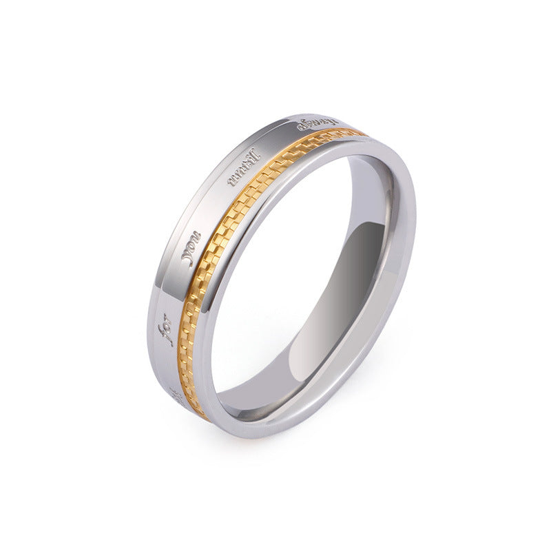 Gold plated titanium matching promise rings for couple 6/4mm