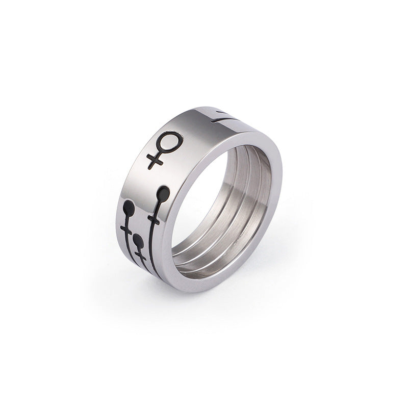 Titanium promise rings for young couples 8/6mm