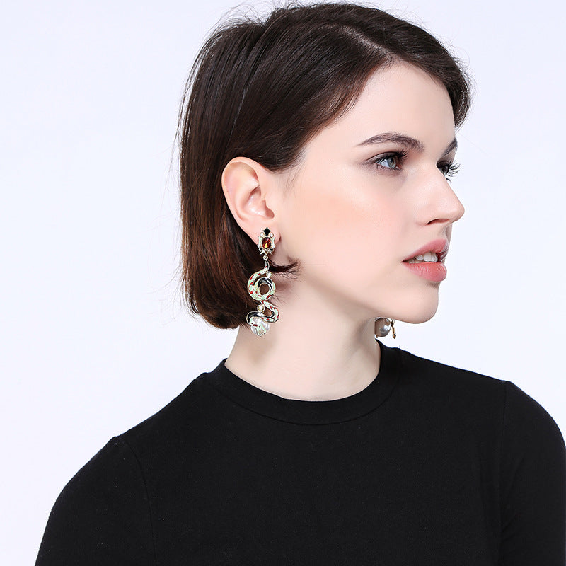 Enamel Glaze Snake Drop Earrings