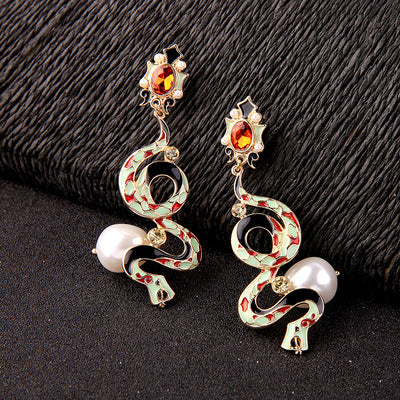 Enamel Glaze Snake Statement Earrings