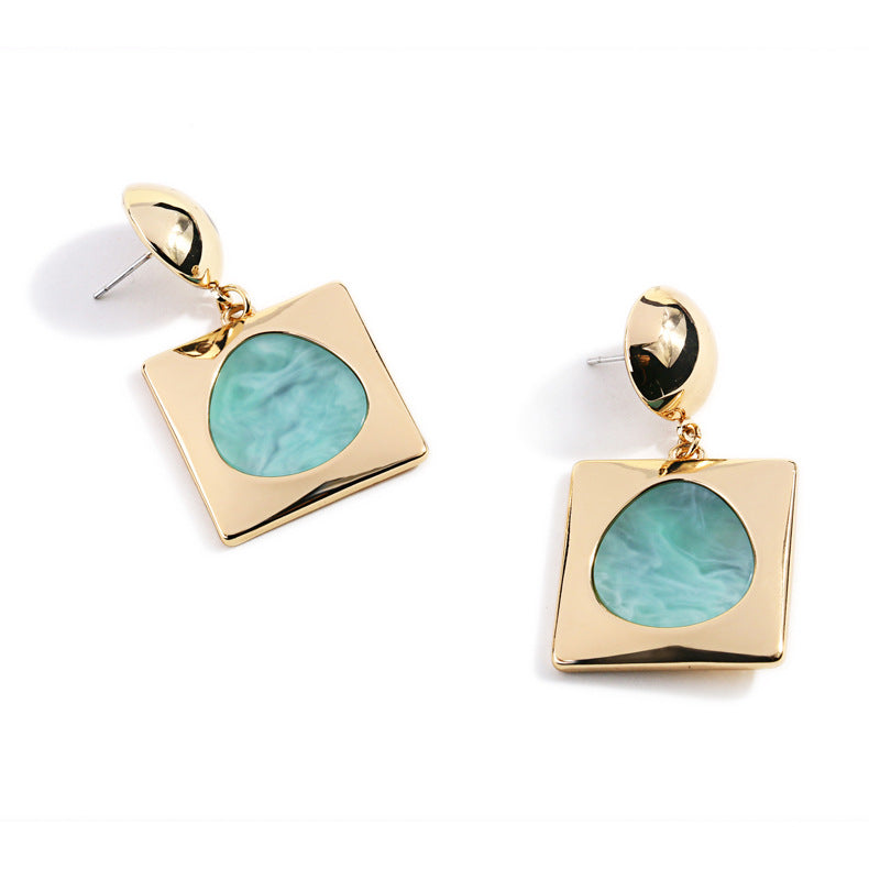 Shiny Gold Plated Earrings with Green Acrylic