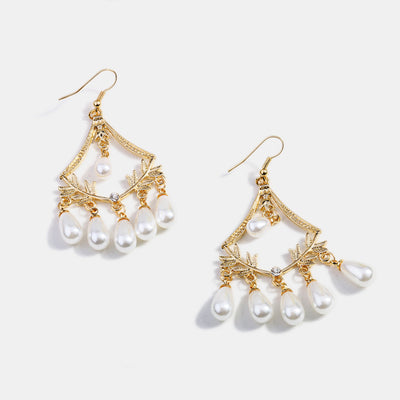 Shiny Gold Plated Pearls Drop Earrings