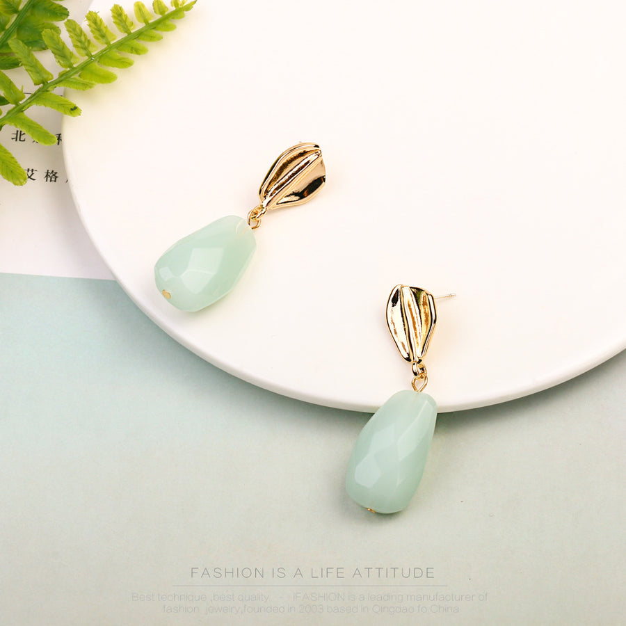 Irregular Acrylic Green Earrings