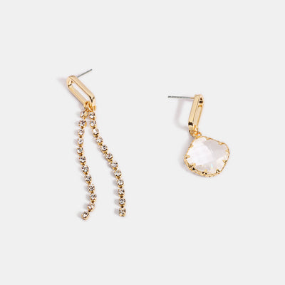 Asymmetrical Shiny Gold Plated Crystal Drop Earrings