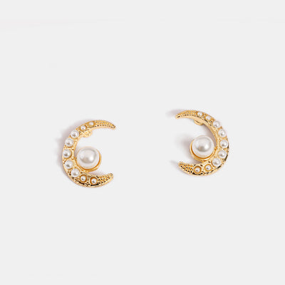 Moon-shaped Pears Stud Earrings
