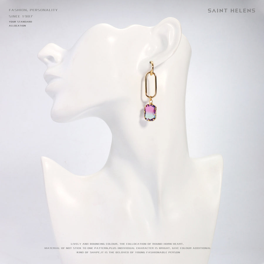 Purplish Red Crystal Drop Earrings