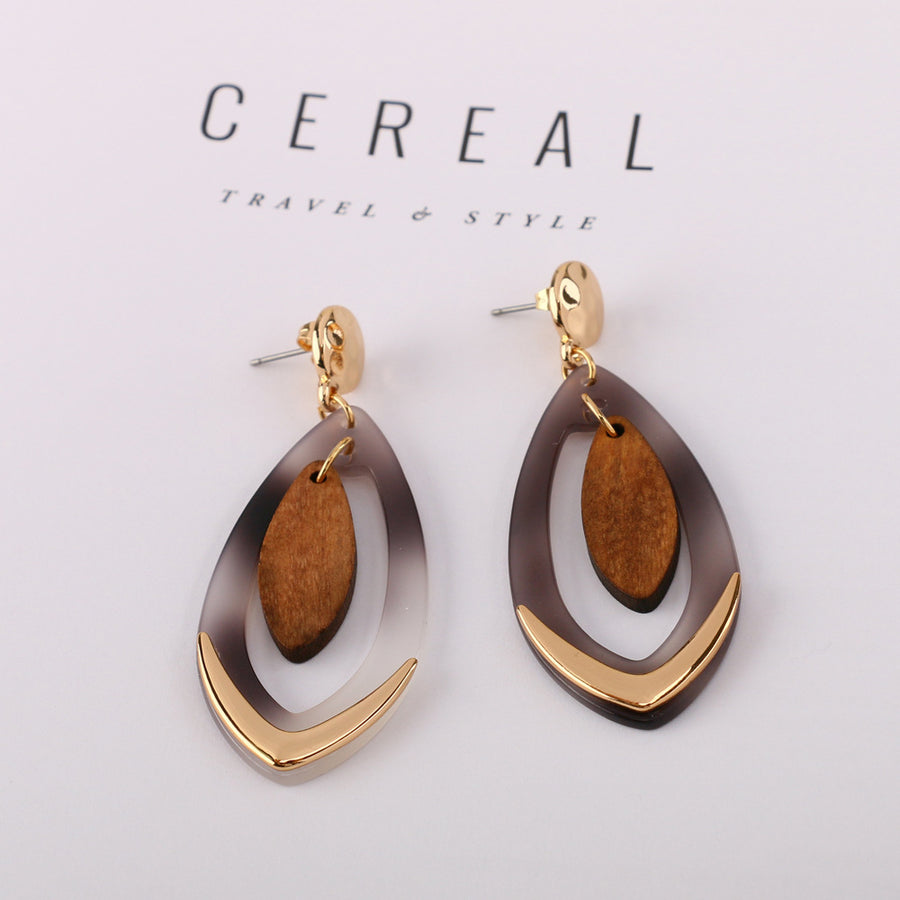 Unique Wood and Acetate Drop Earrings