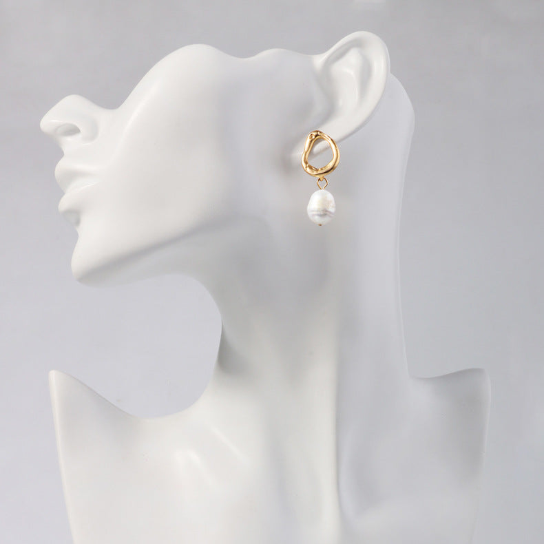 Asymmetric Gold Plated Pearl Drop Earrings