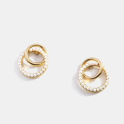 Gold Plated Pearls Hoop Earrings