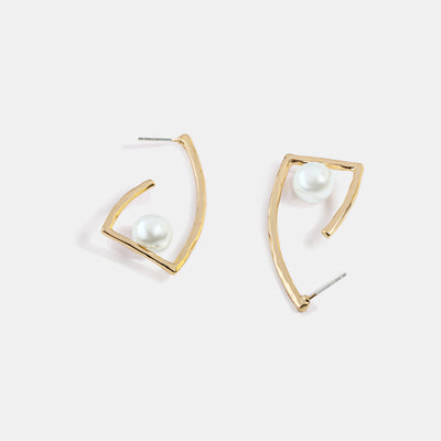 Irregular Pearl Gold Plated Earrings