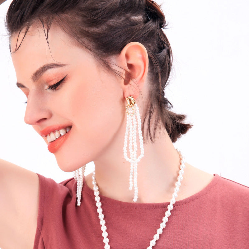 Pearls Tassel Earrings
