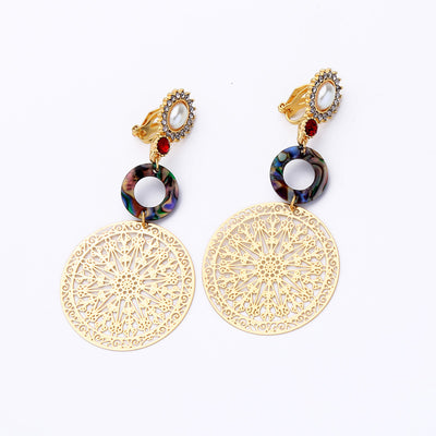 Acrylic Filigree Brass Clip on Earrings