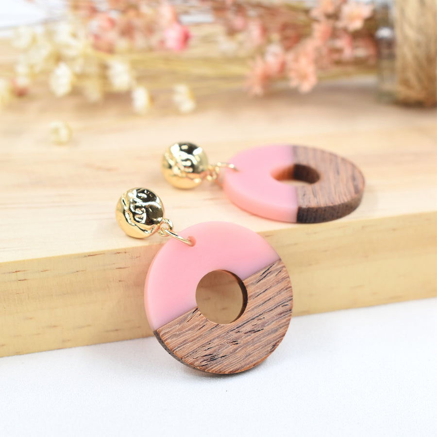 Wood and Acetate Hoop Earrings