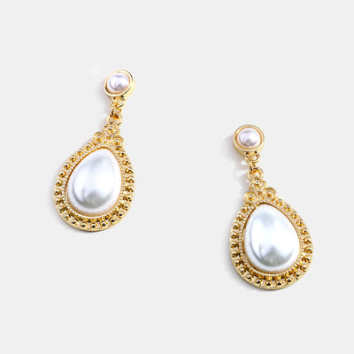 Retro Shiny Gold Plated Pearl Drop Earrings