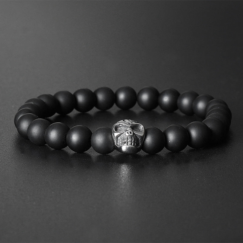 Ebony Beads Bracelet with Titanium Steel Buddha Head