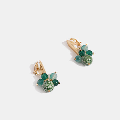 Crystal Glass Beads Clip on Earrings