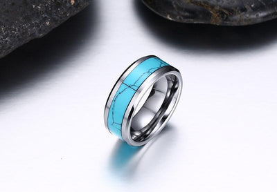 High Polished Tungsten Carbide Rings with Turquoise